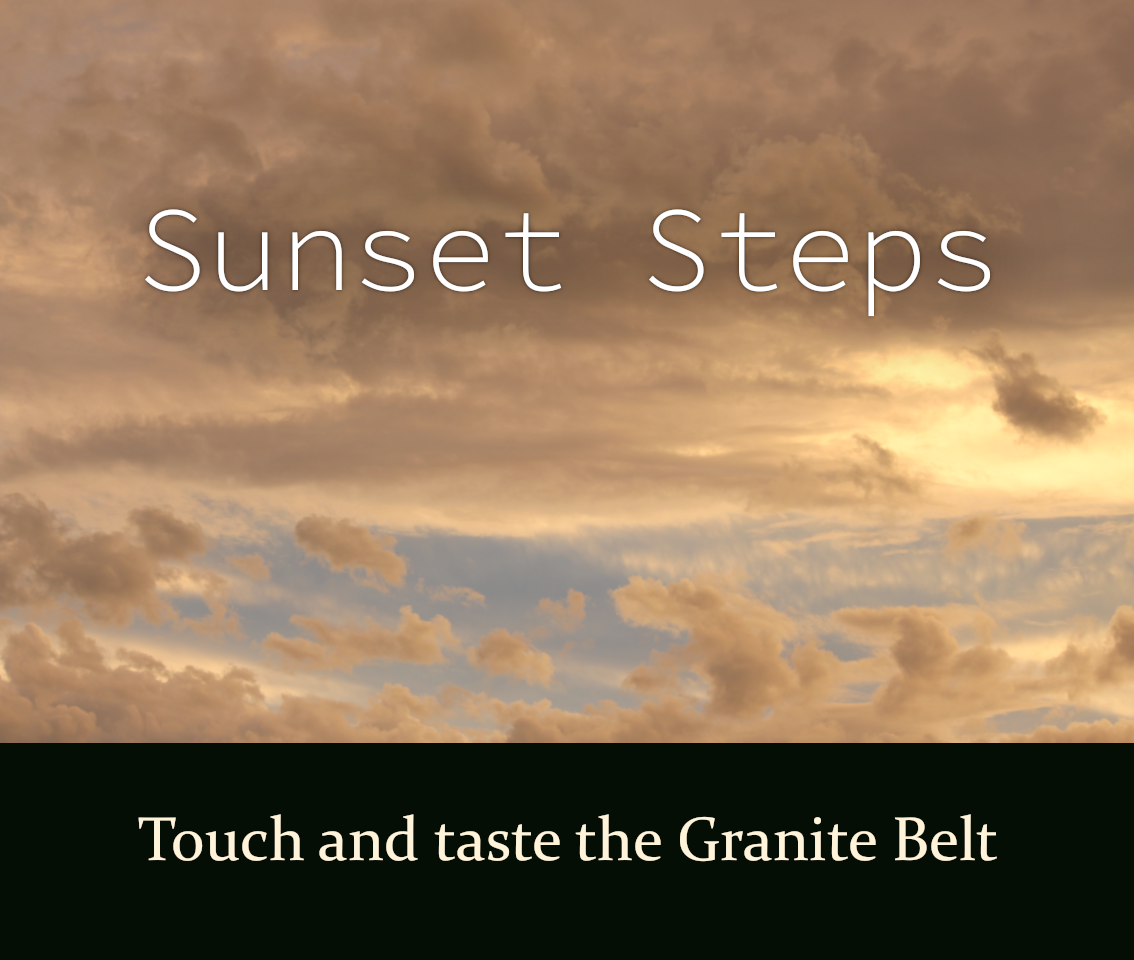 Sunset Steps. Sunset Steps package is exclusive to 31 the rocks. 31 the rocks is accommodation in Stanthorpe. Package includes Twisted Gum Wines. Sunset Steps is by Emma Walton Guiding, a nature Guide of South East Queensland.
